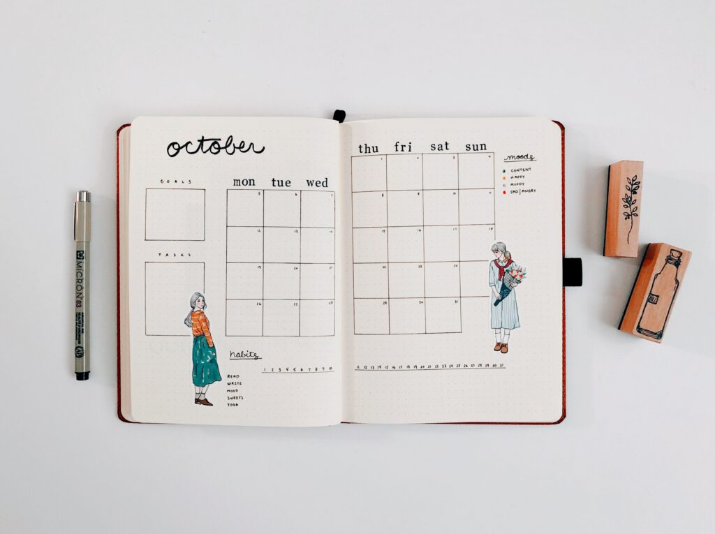 Minimal bullet journal - monthly overview